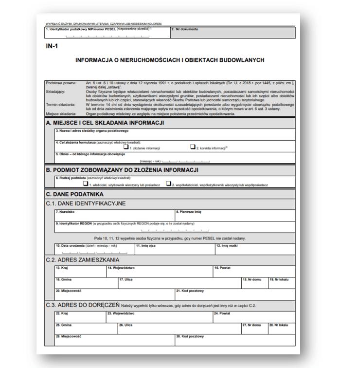 formularz in podatek od nieruchomości